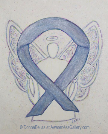 Silver Mystic Awareness Ribbon Angel Painting Art