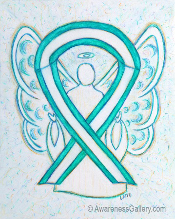Teal and White Cervical Cancer Awareness Ribbon Angel Art Painting