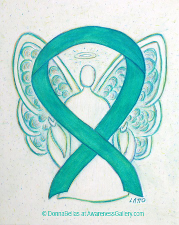 Teal Awareness Ribbon Angel Painting Art