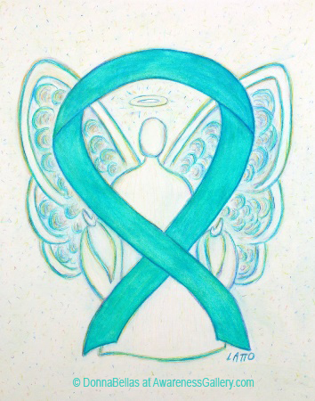 Light Teal Awareness Ribbon Angel Painting Art