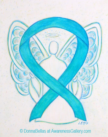 Turquoise Blue Awareness Ribbon Angel Painting Art