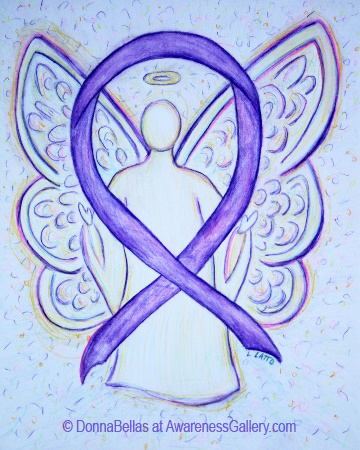 Orchid Violet Sunrise Awareness Ribbon Angel Painting Art