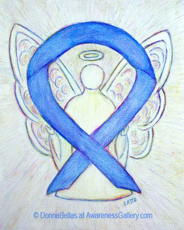 Violet Blue Sunset Awareness Ribbon Angel Painting Art