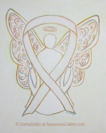 White and Gold Awareness Ribbon Angel Painting Art