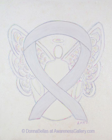 Pearl White Lung Diseases Awareness Ribbon Angel Painting Art