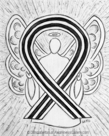 White and Black Awareness Ribbon Angel Art to End Racism