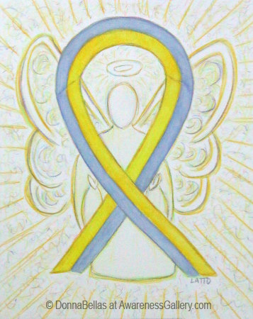 Yellow an Gray Awareness Ribbon Angel Art