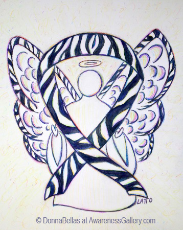 Rare Disease Zebra Stripes  Awareness Ribbon Angel Painting Art