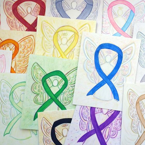 Awareness Ribbon Angels Art Paintings Multiple Colors