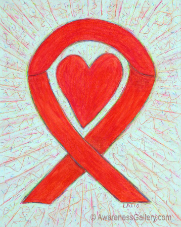 Red Awareness Ribbon Heart Art Painting