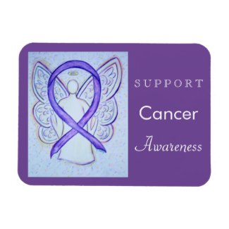 Cancer Awareness Violet Ribbon Guardian Angel Custom Rectangle Magnets