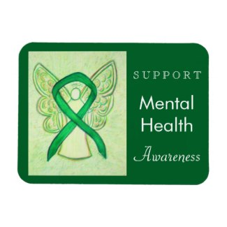 Support Mental Health Green Awareness Ribbon Guardian Angel Custom Magnets